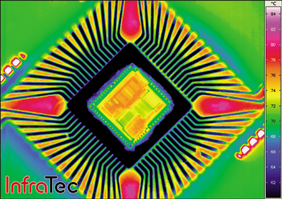 InfraTec ImageIR Analysis of heat dissipation for a microchip.