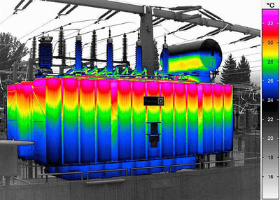 InfraTec ImageIR Inspection of a transformer.
