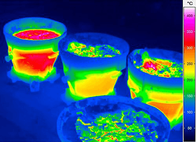 InfraTec ImageIR Thermal image of smelting pans.