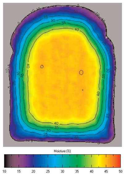 Moisture distribution in a fresh slice of bread. Image courtesy of Campden Bri.